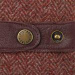 Herringbone Wool Leather Gloves bordeaux