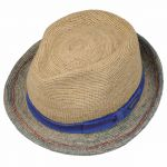 Crochet Trilby Strohhut hellblau