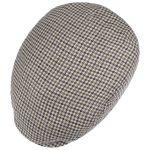 Bandera Linen Check Flat Cap beige