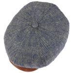 8 Panel Premium Leinen und Seide Cap blau-meliert