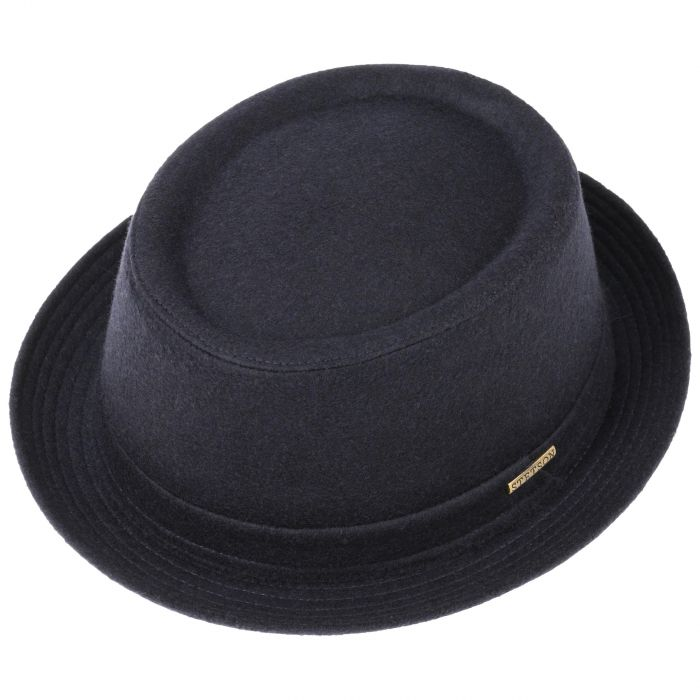 Wool Pork Pie Hat navy