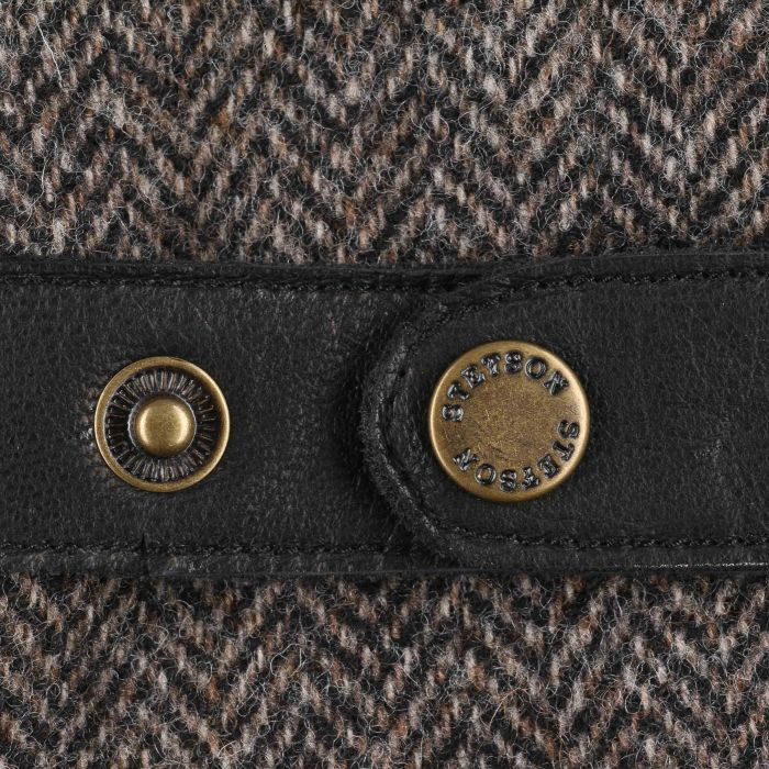 Herringbone Wool Leather Gloves black-grey