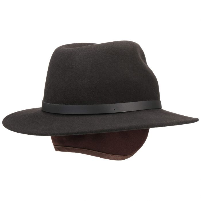Barley VitaFelt Hat With Ear Flaps dark brown