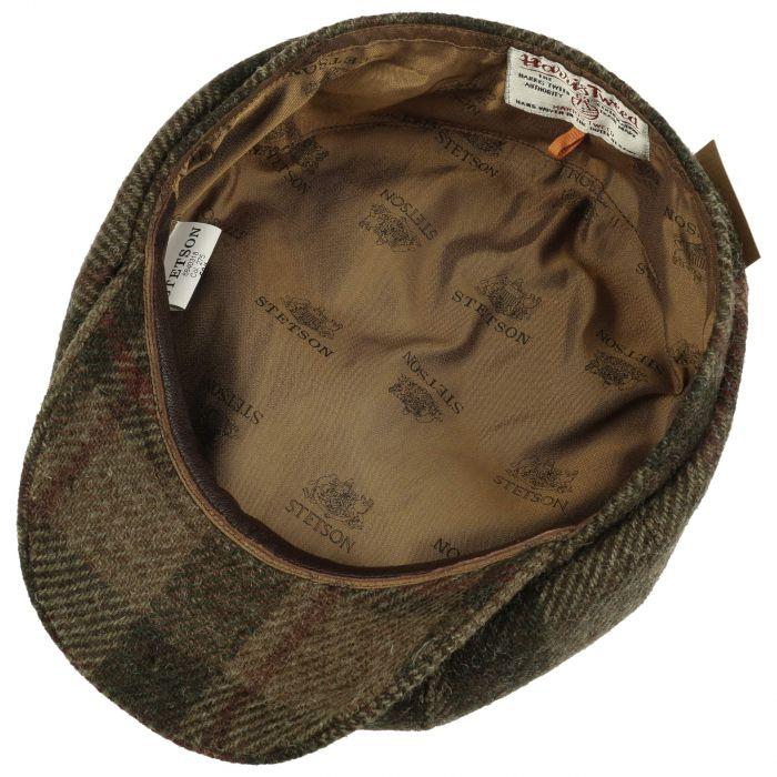 Hatteras Virgin Wool Check Flat Cap olive