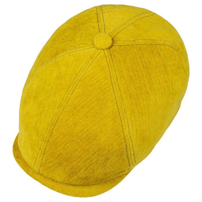 6 Panel Velvet Flat Cap yellow