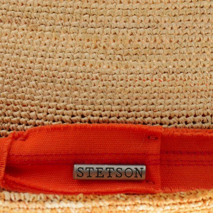 Crochet Trilby Strohhut orange
