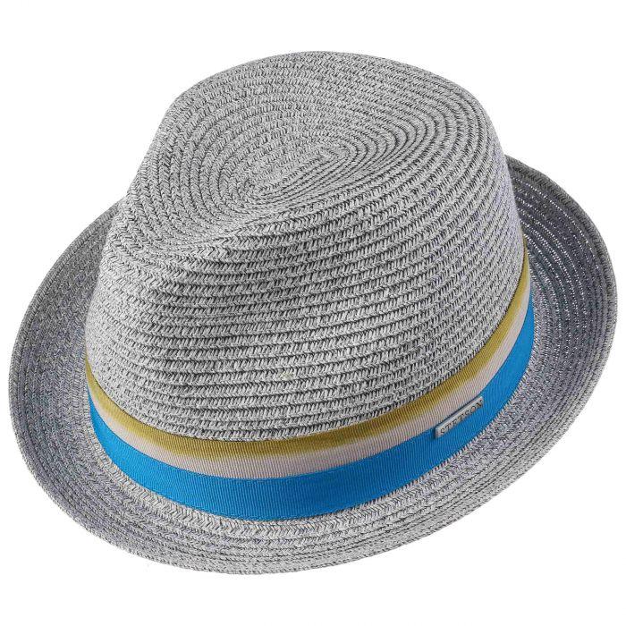 Striped Ribbon Player Straw Hat grey