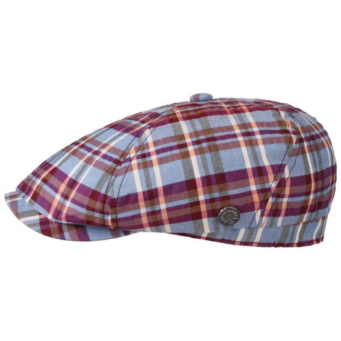 Brooklin BBQ Seersucker Flat Cap blue-red