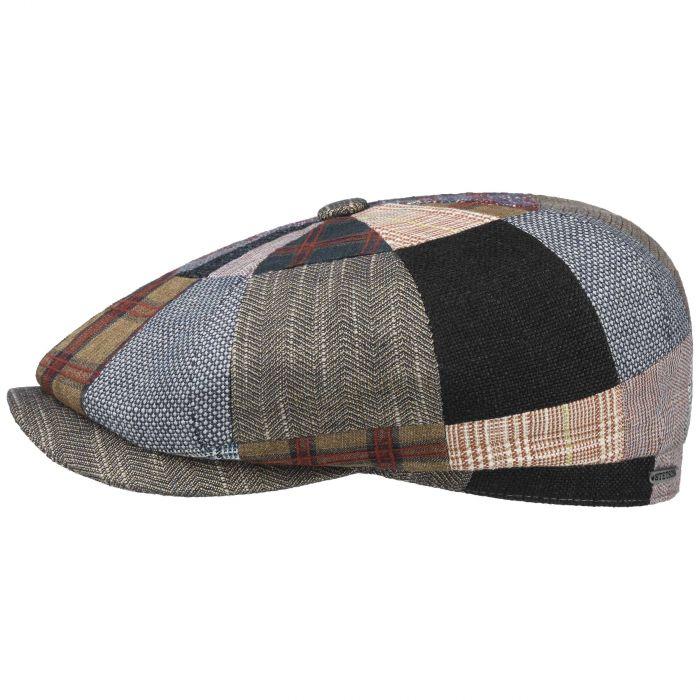BROWN TWEED WOOL MIX PATCHWORK FLAT CAP