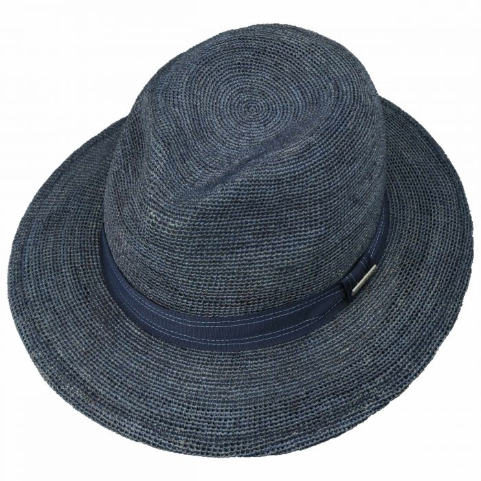Crochet Traveller Raffia Hoed donkerblauw
