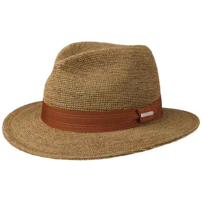 Crochet Traveller Raffia Hat brown