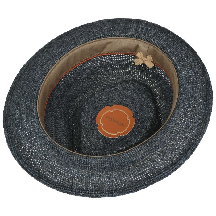 Crochet Fedora Raffia Hoed donkerblauw