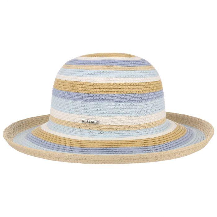 Stripes Schlapphut beige-blau