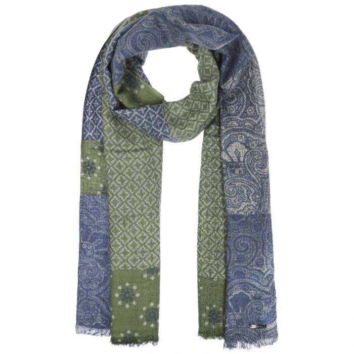 Écharpe avec Cachemire Pattern-Mix bleu-vert