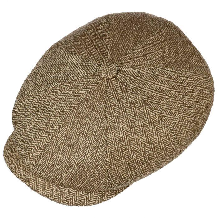 Hatteras Zijde Flat Cap beige-gemêleerd