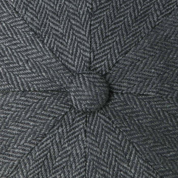 Hatteras Zijde Flat Cap zwart-grijs