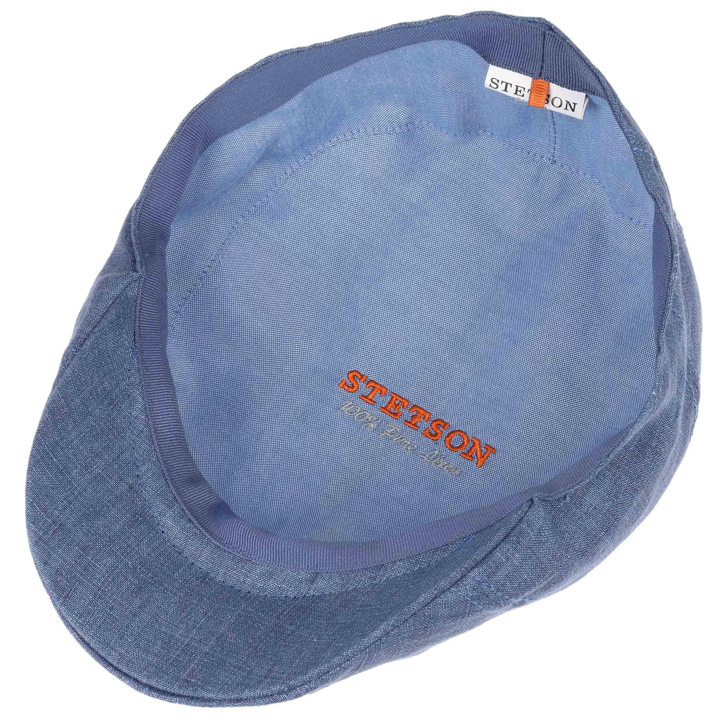 Madison Leinen Flatcap blau-meliert