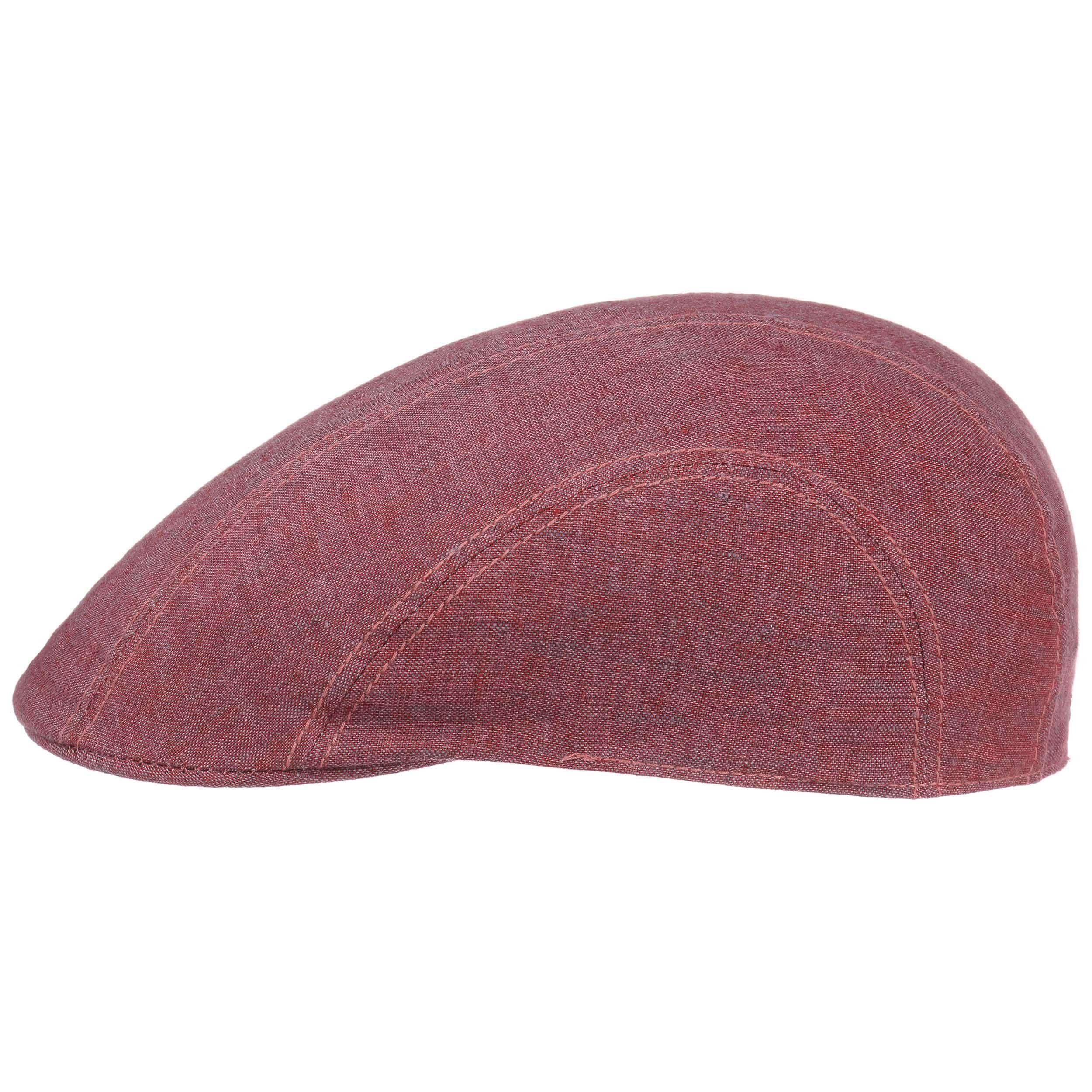 Madison Leinen Flatcap rot-meliert