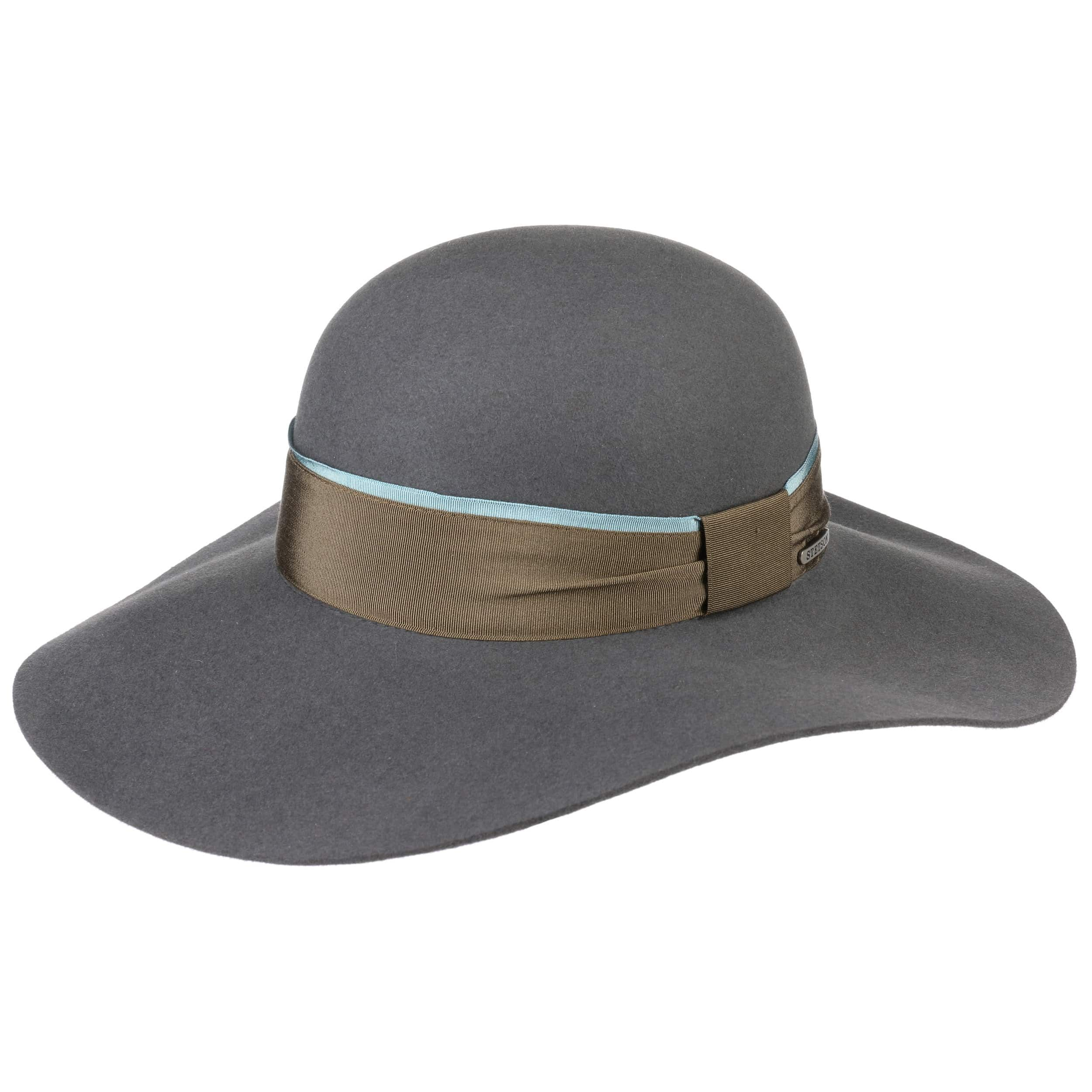 Elegantina Fur Felt Floppy Hat grey