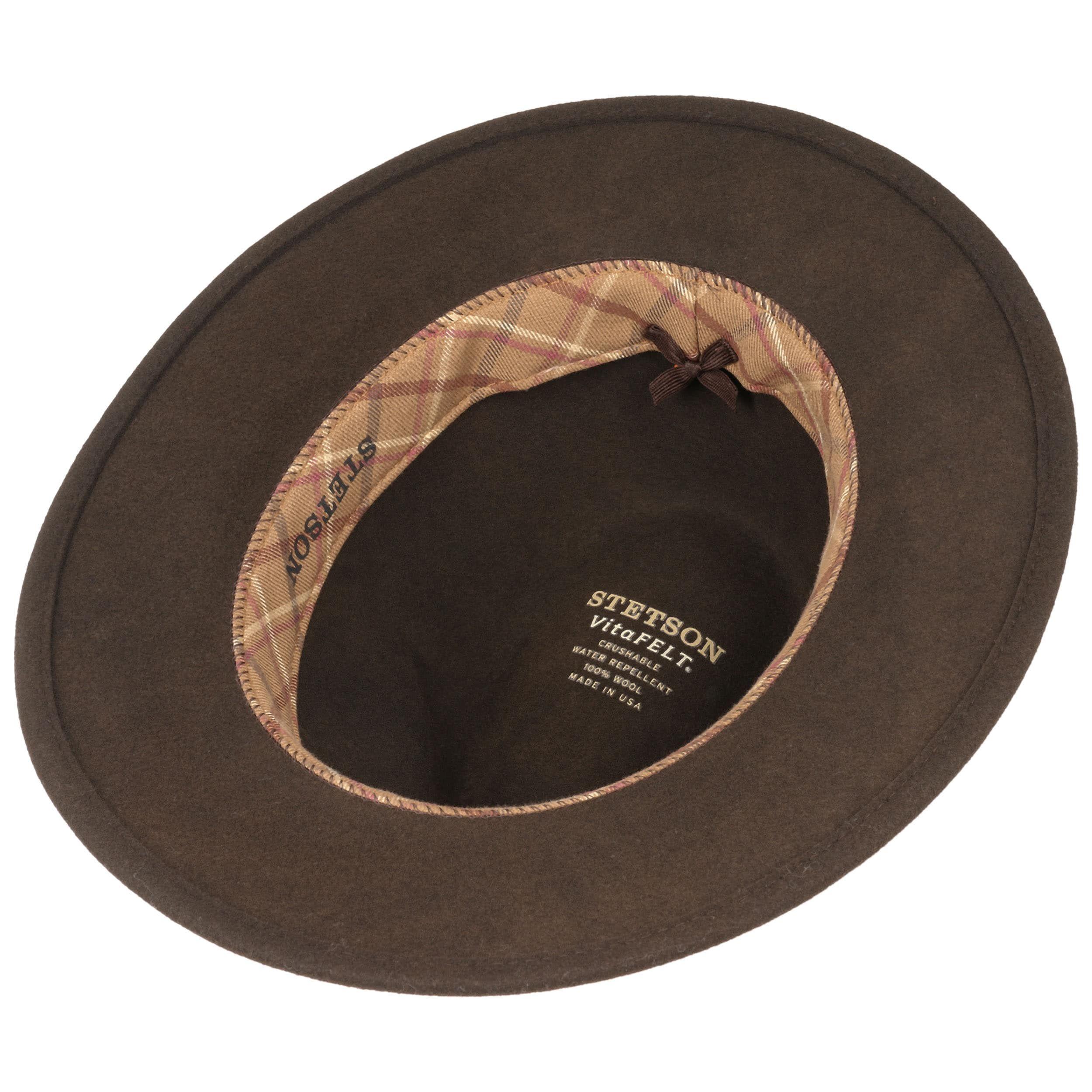 Leather Trim VitaFelt Hat dark brown