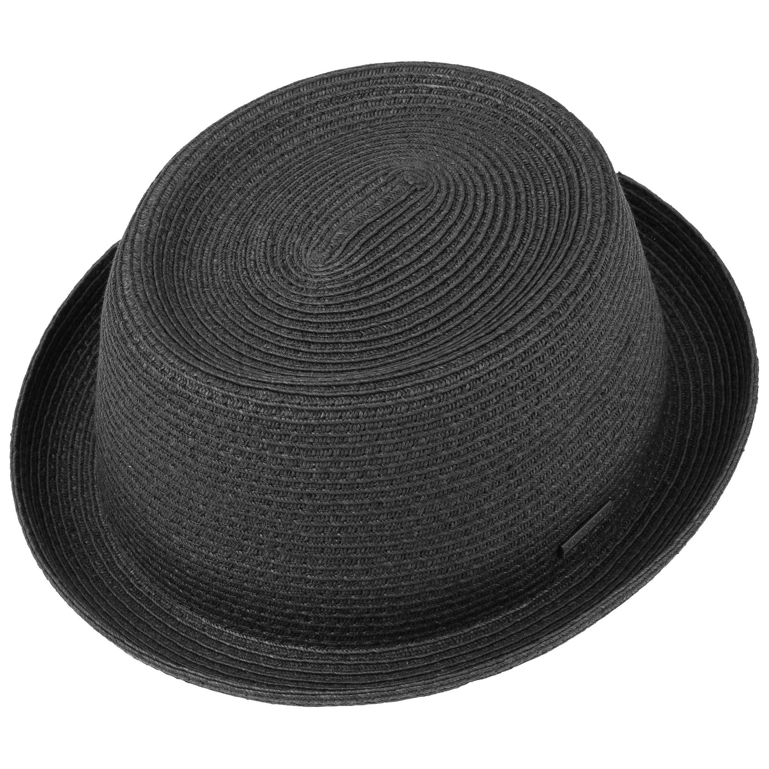 Dawson Black Pork Pie Straw Hat black