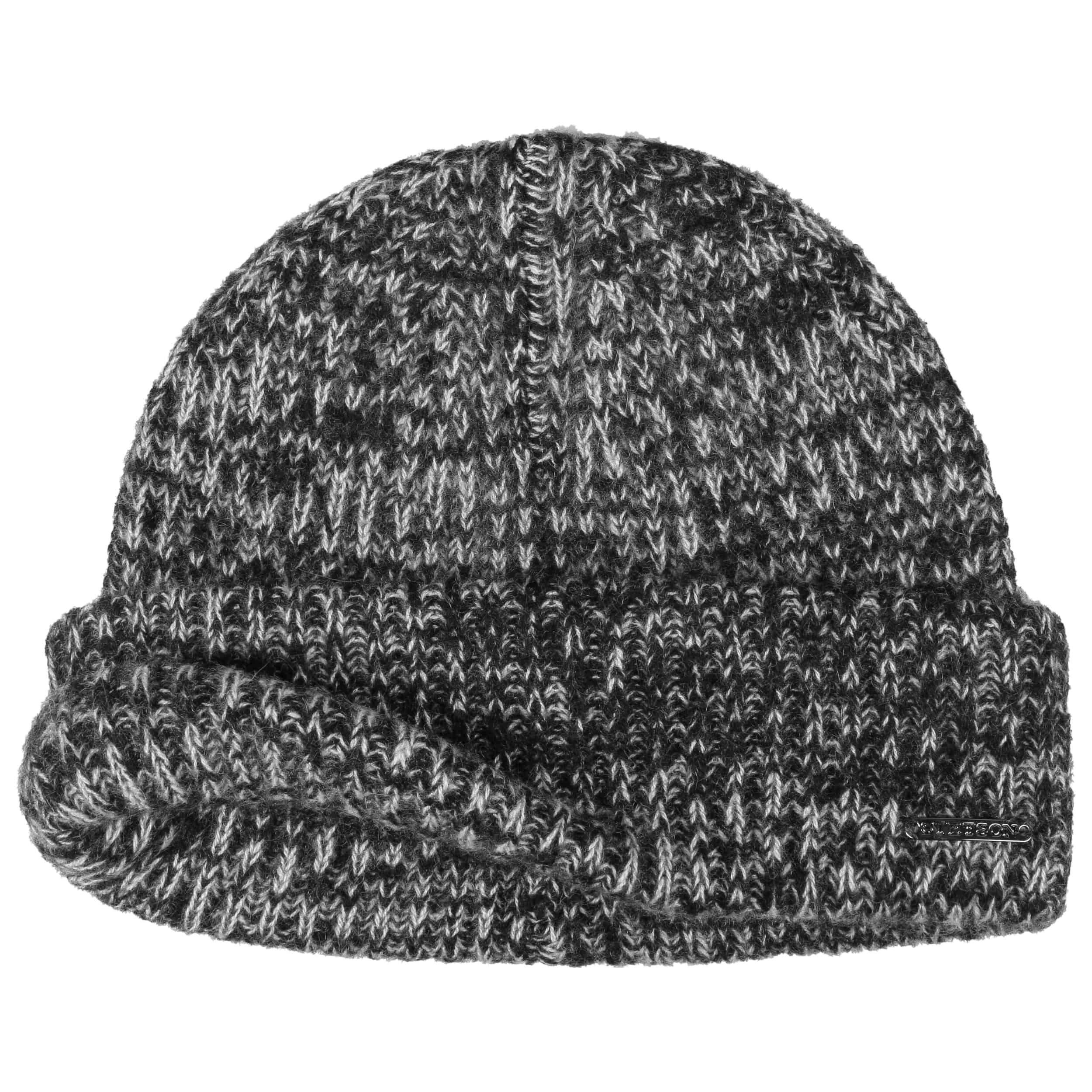 Surth Mélange Cashmere Pull on Hat black-white