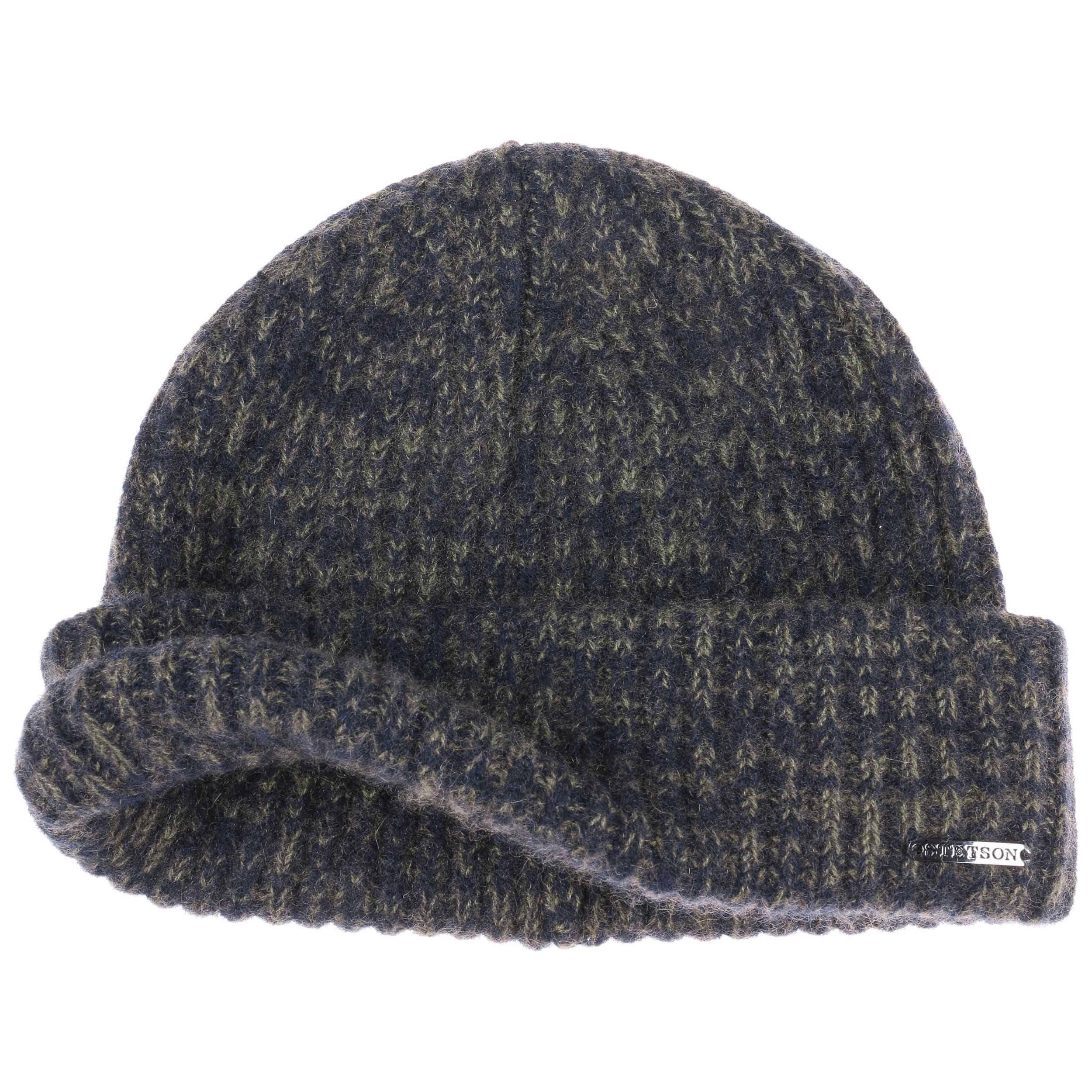 Surth Mélange Cashmere Pull on Hat blue-olive