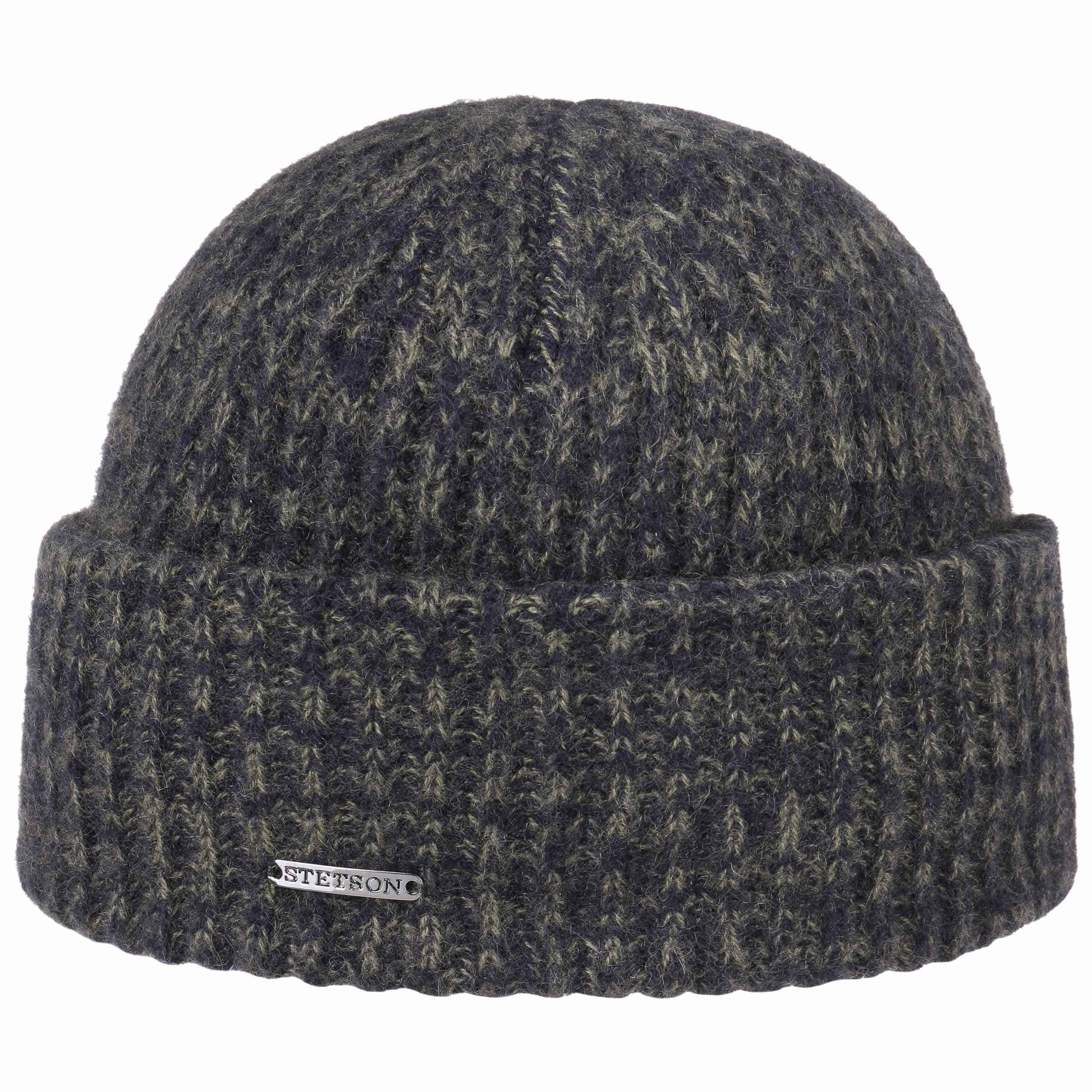 Surth Mélange Cashmere Pull on Hat blue-olive