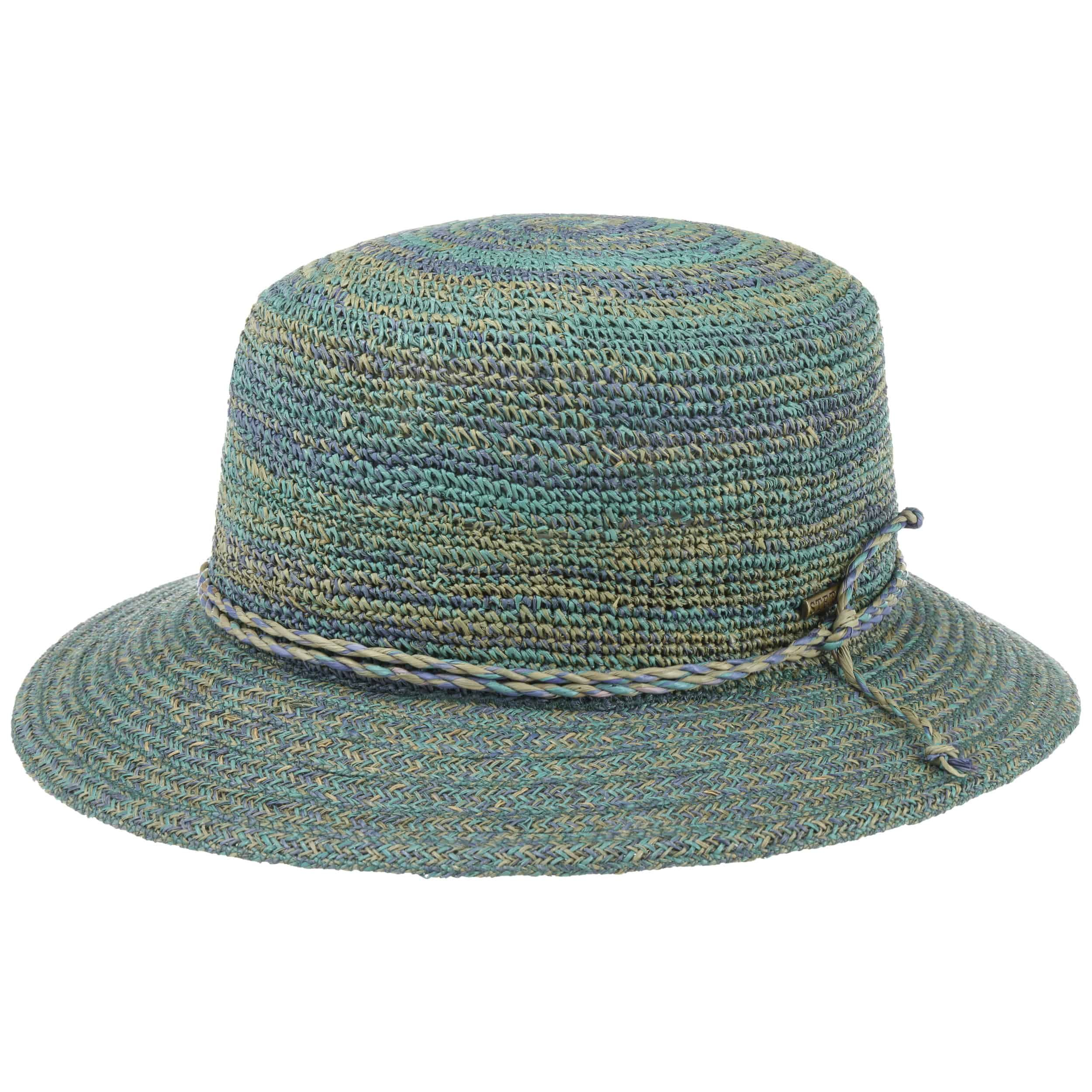 Raffia Crochet Hut grün-blau