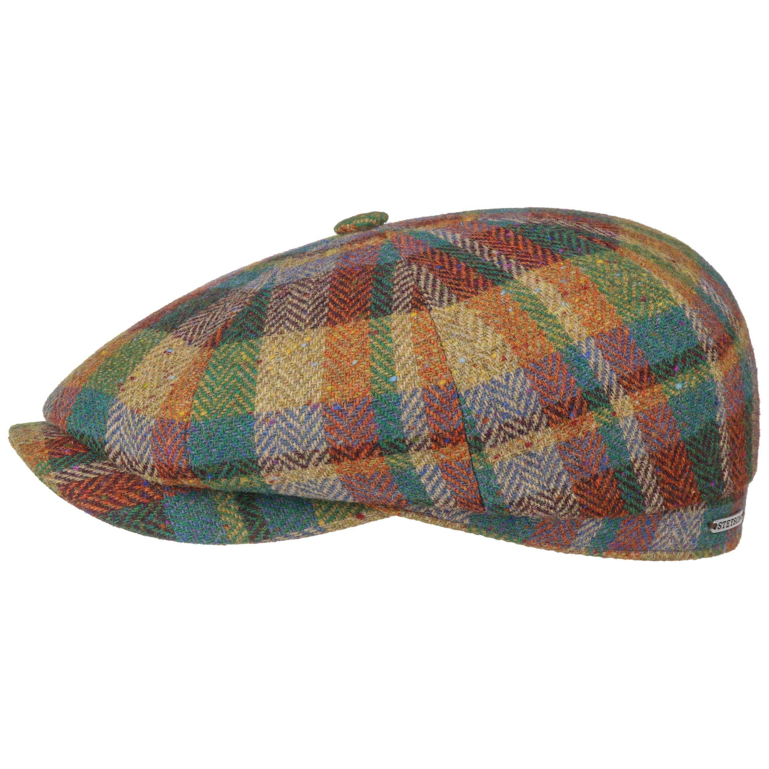 Hatteras Lambswool Patchwork Flat Cap mixed colours