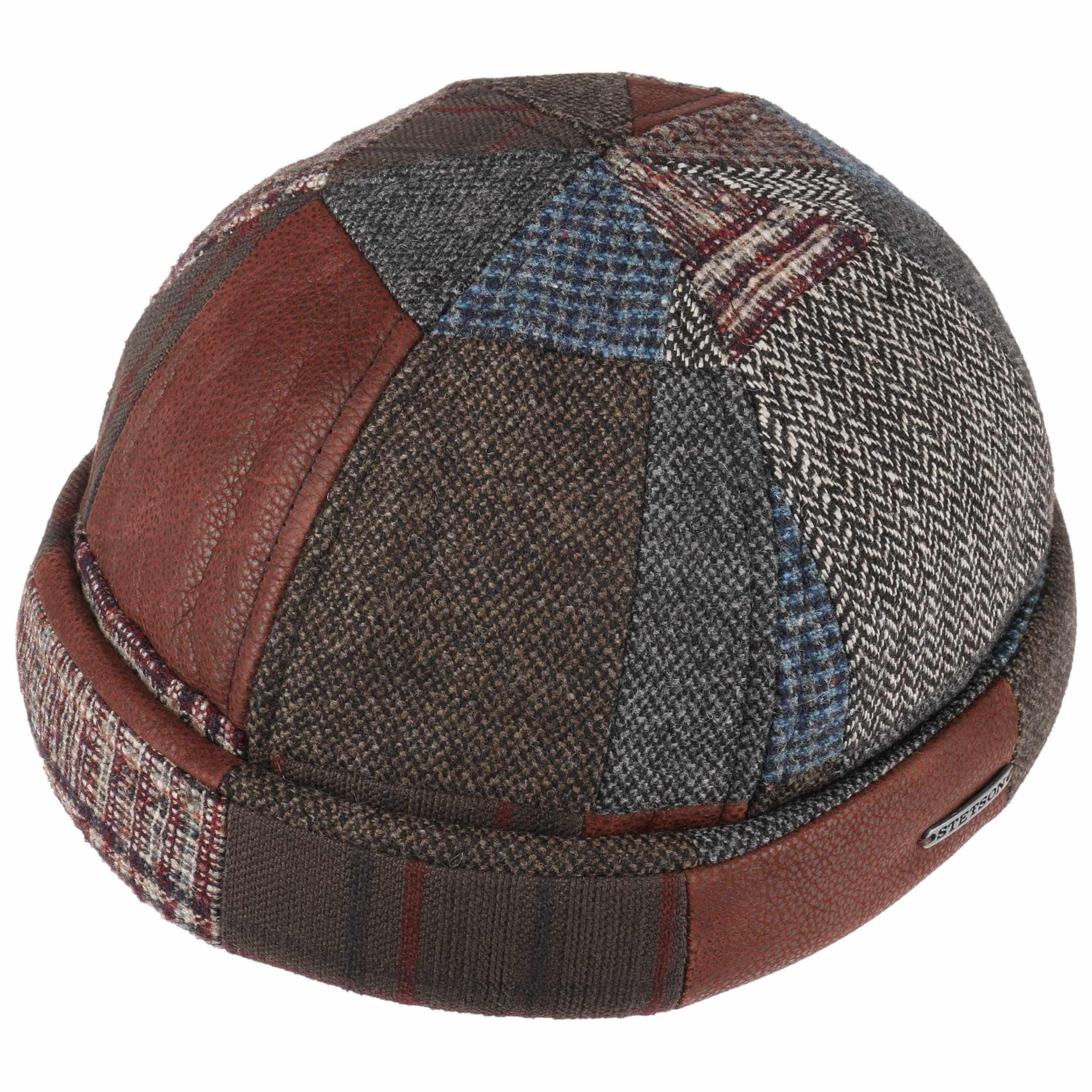 Wool Patchwork Docker Hat brown