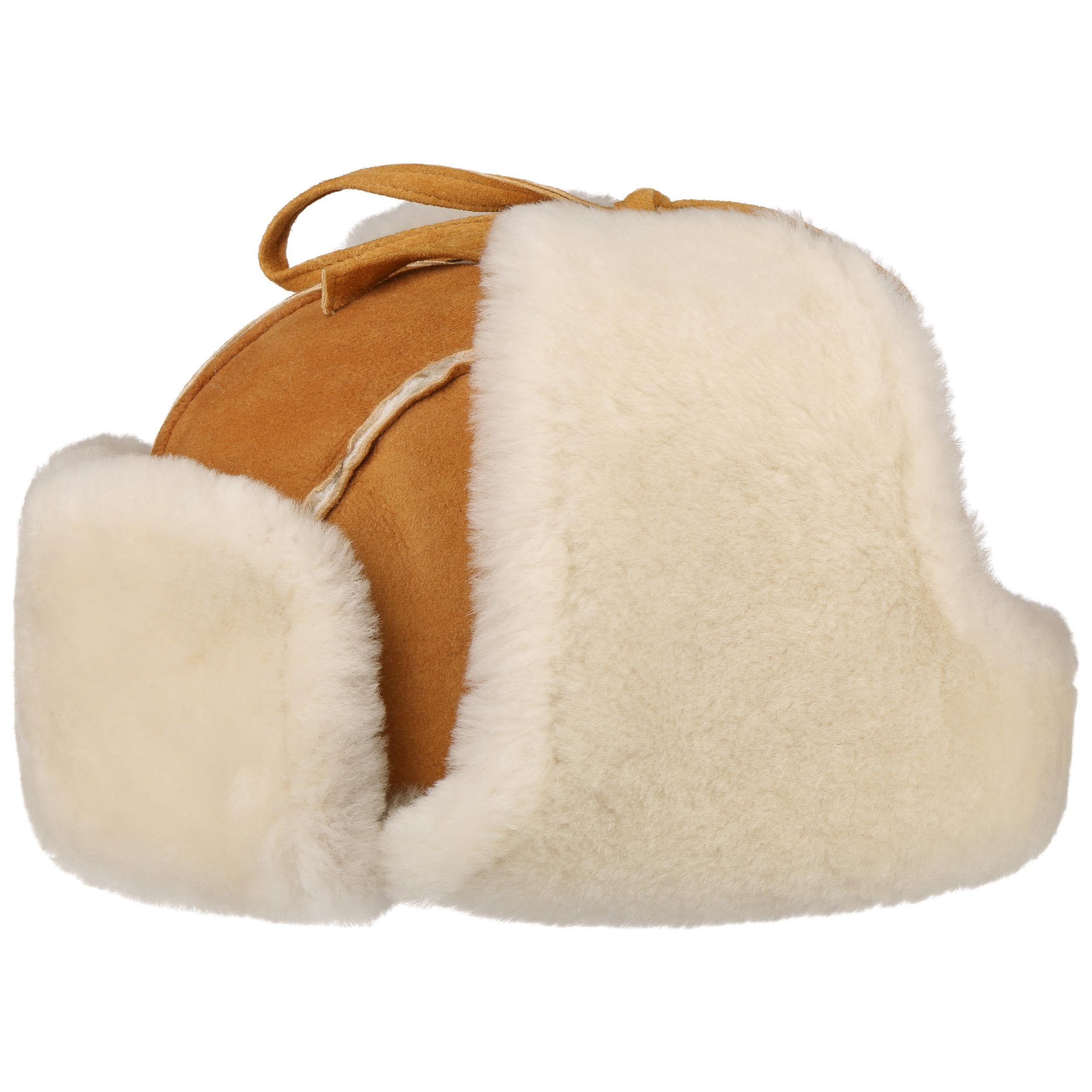 Lamb Fur Pilotenmuts lichtbruin