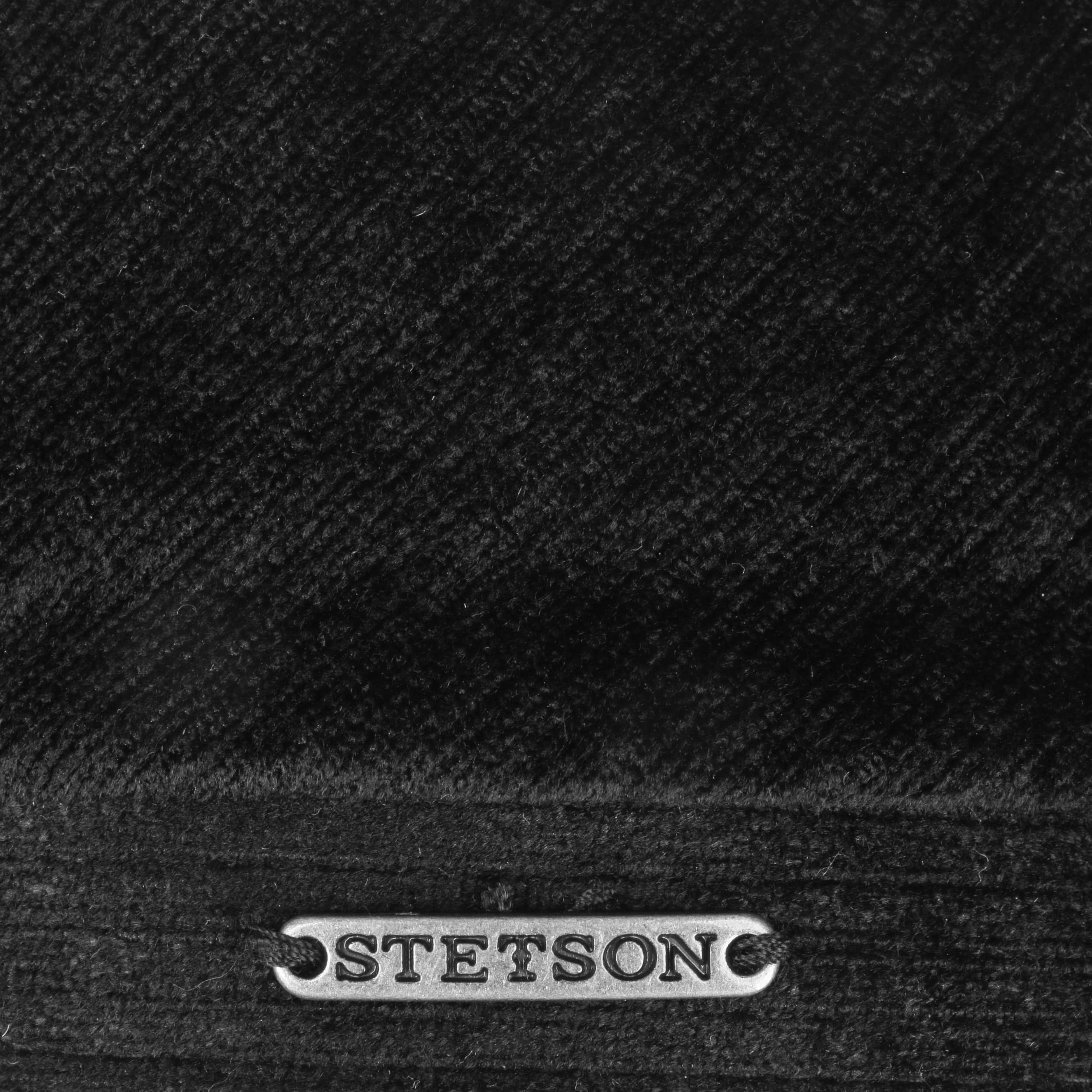 6 Panel Velvet Flatcap schwarz
