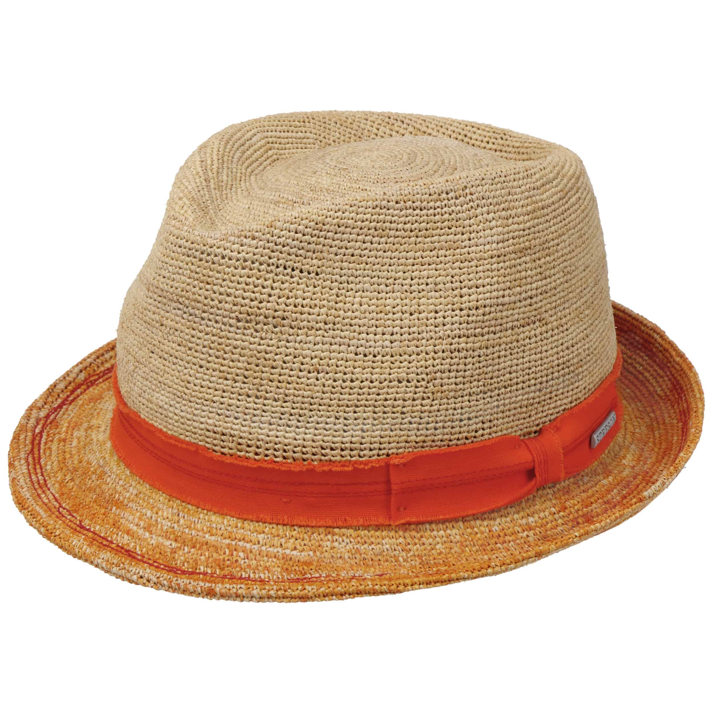 Crochet Trilby Strohhut orange