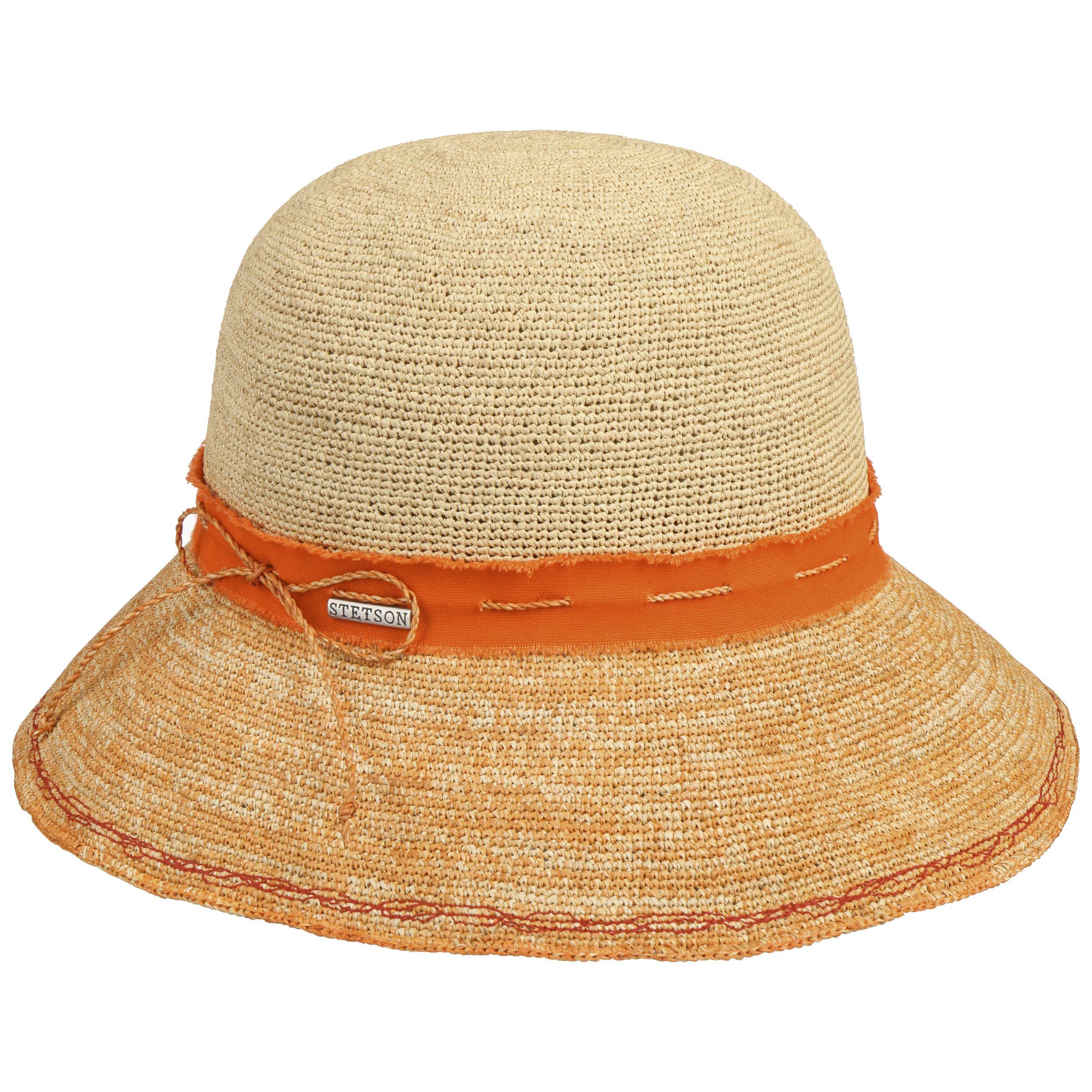 Crochet Damen Strohhut orange