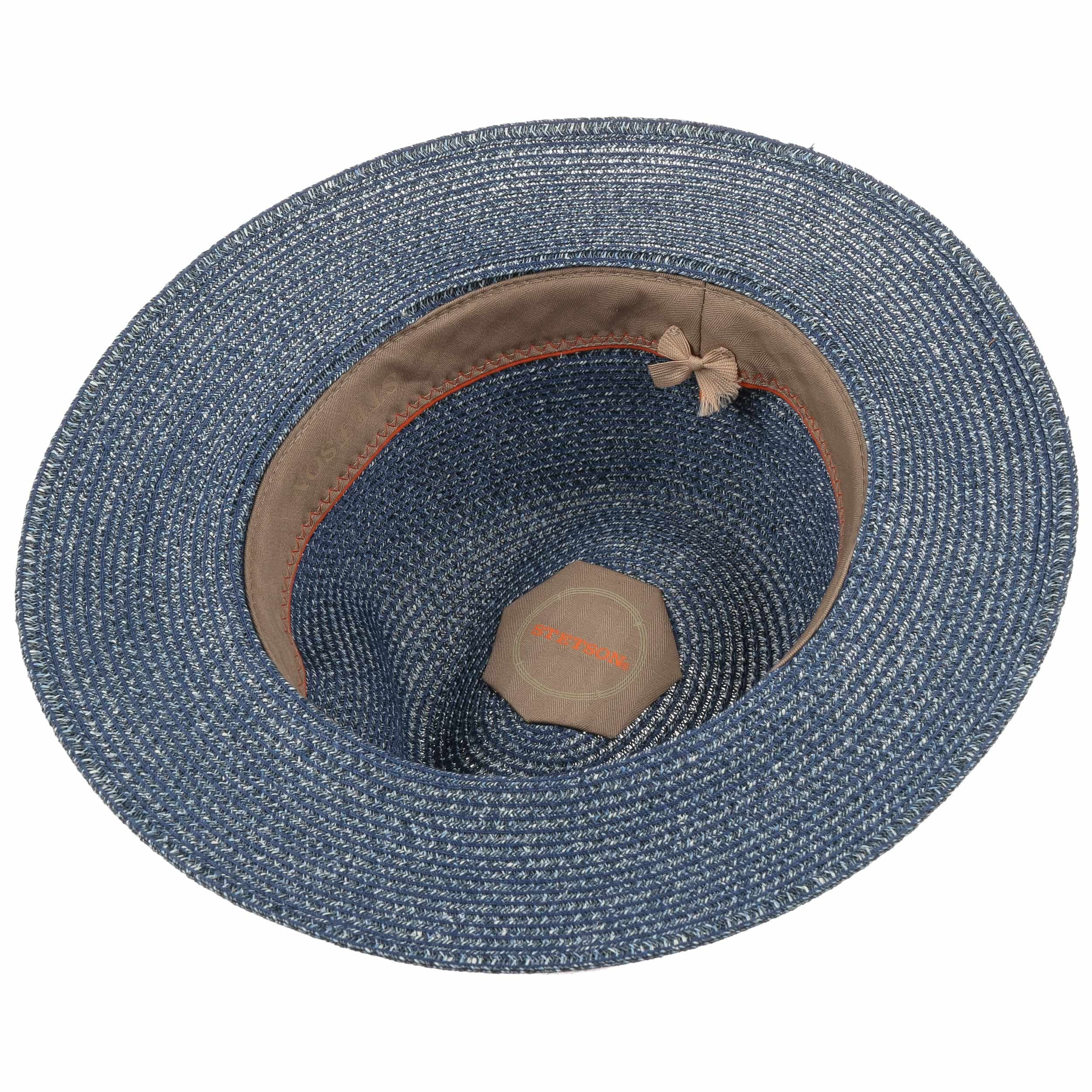Chapeau en Paille Nark Toyo bleu-moucheté