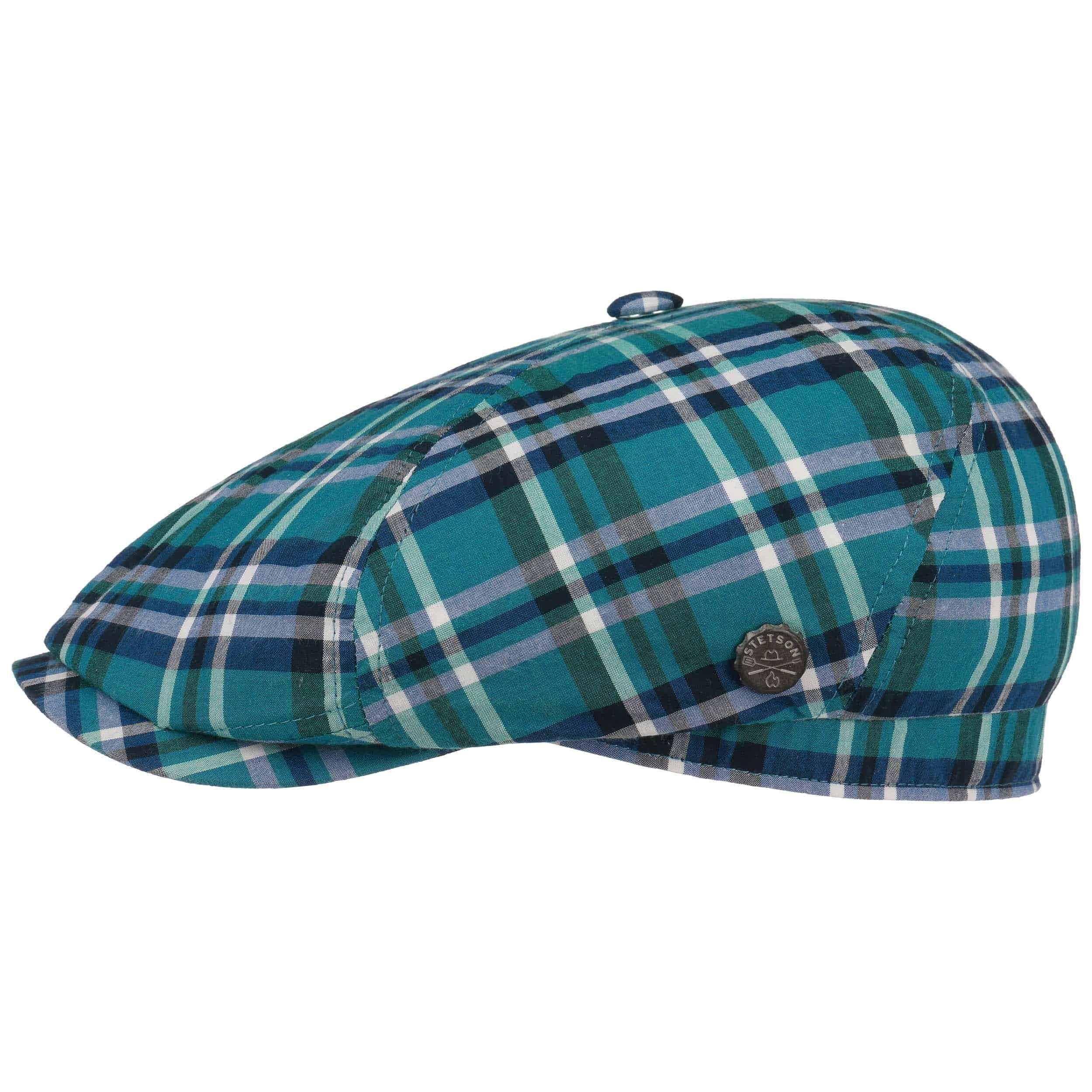 Brooklin BBQ Seersucker Flat Cap blue-green