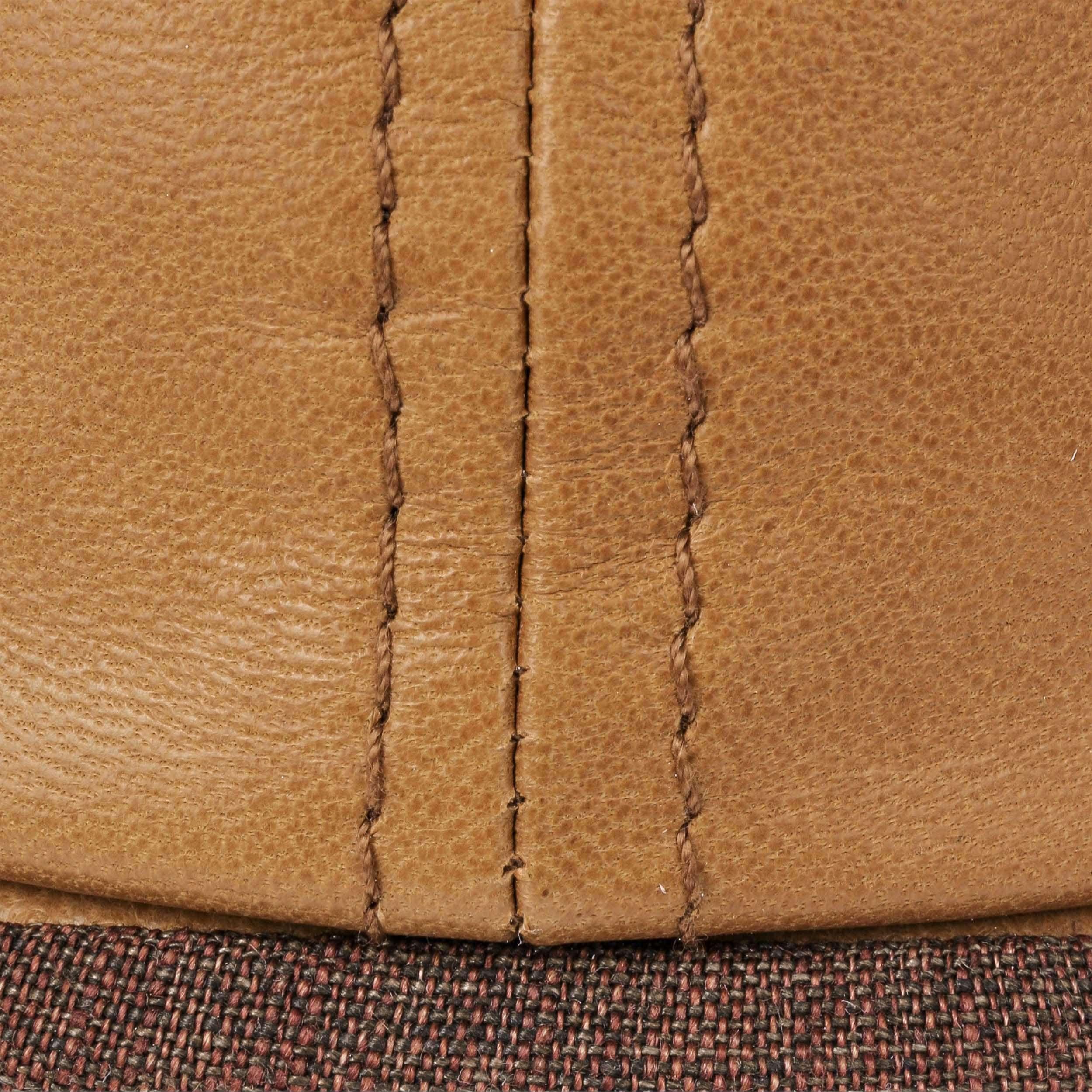 Brooklin 6 Panel Leather Flat Cap cognac