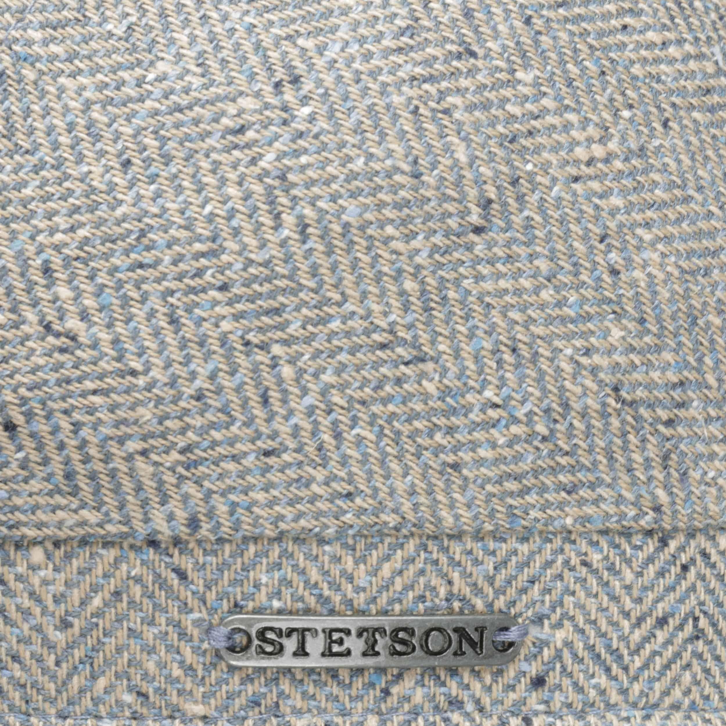 Hayton Herringbone 6 Panel Flat Cap beige-blue