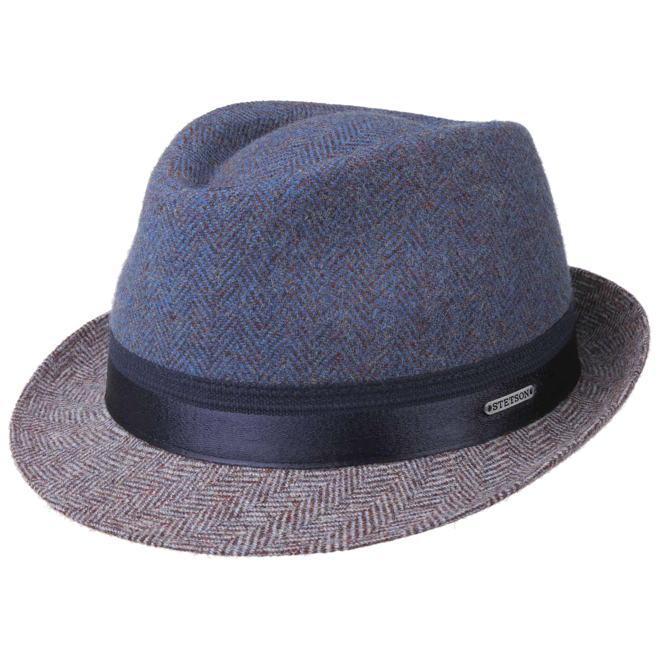 Sombrero de Lana Herringbone Trilby azul-burdeos