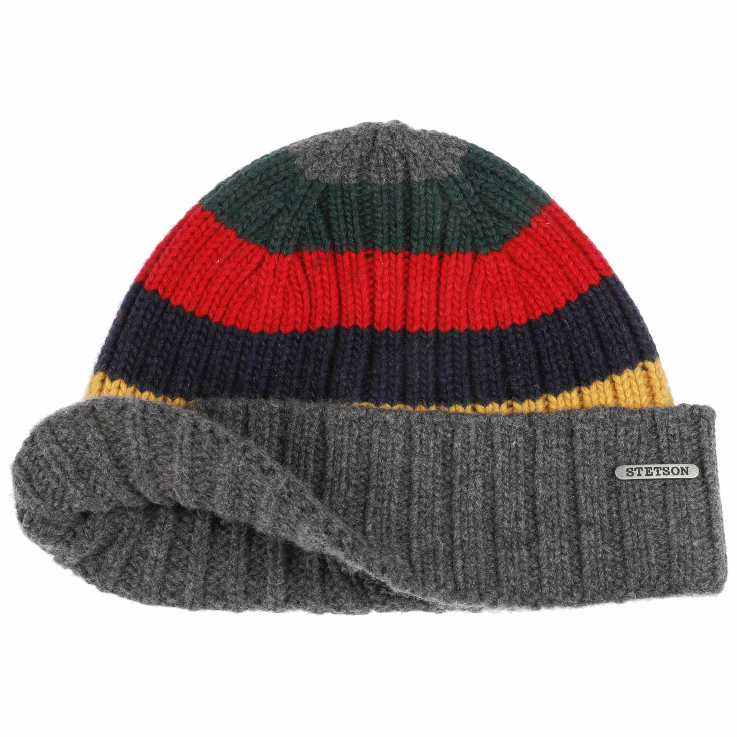 Stripes Beanie Hat with Cashmere grey