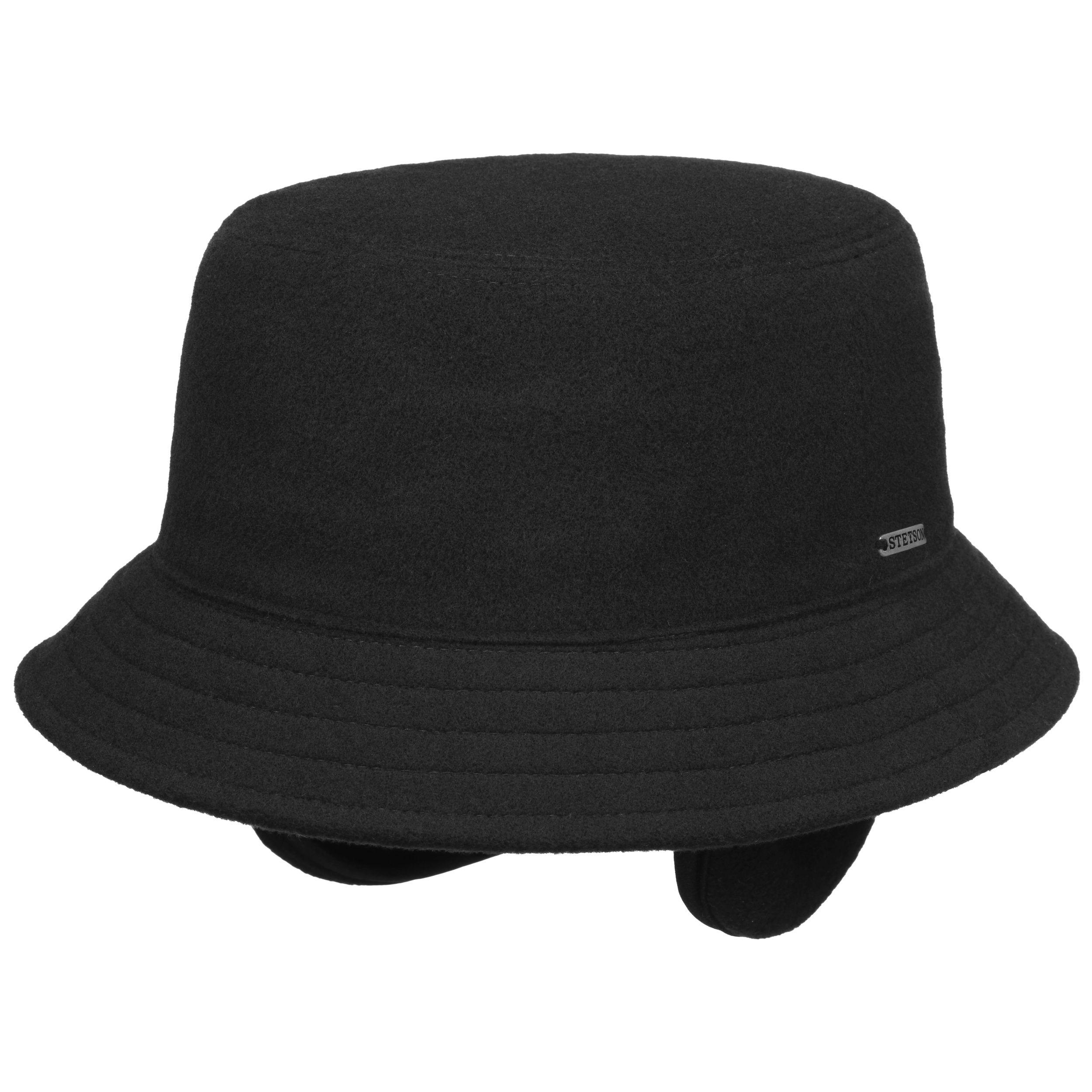 Midval Bucket Wollhut mit Ohrenklappen schwarz